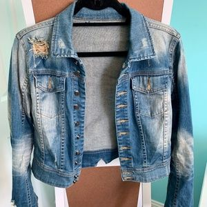 Blank NYC Distressed Cropped Jean Jacket